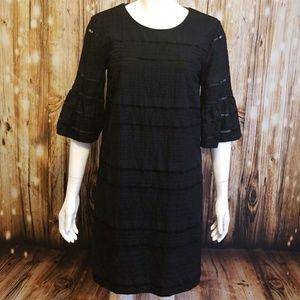J. Crew black textured sheath dress